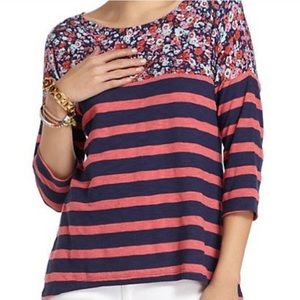 Anthro Postmark Floral & Striped Pullover Top